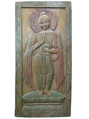 Antique Shakyamuni Buddha Begging Bowl Wall Panel Hand Carved Vintage Door Panel