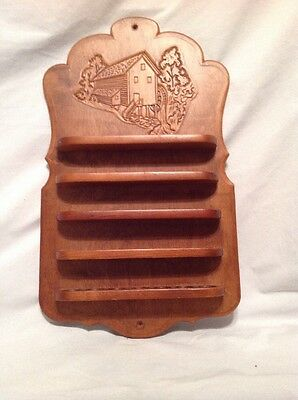 WOOD Carved Old Mill DISPLAY CASE THIMBLE HOLDER WALL HANGING FOR 35 THIMBLES