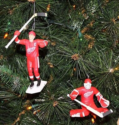DETROIT RED WINGS CHRISTMAS ORNAMENTS SET OF 2 YZERMAN & OSGOOD red jersey
