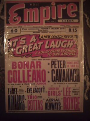 Leeds Empire 1951 'it's A Great Laugh'  Bonar Colleano Box Office Card.