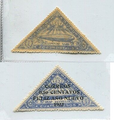 ZEPPELIN 1933 PARAGUAY old ERROR VARIETY TRIANGLE STAMP MINT MNH # 54199