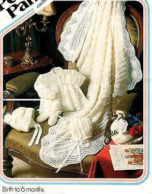 VINTAGE KNITTING PATTERN COPY - TO KNIT BABY'S  4 ply LAYETTE  - WITH SHAWL