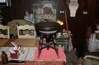 Antique Wood Piano Stool W/Adjustable Height Seat-Claw Feet Legs W/Glass Balls