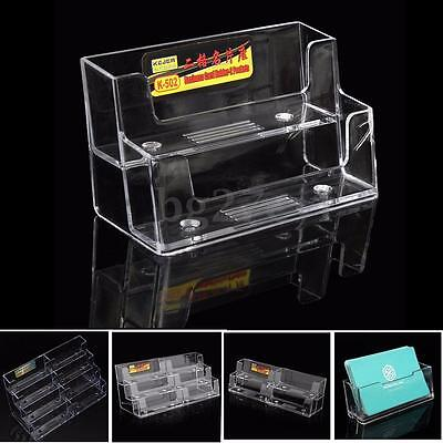 1-8 Pocket Clear Business Card Holder Display Stand Acrylic Plastic Desk Shell