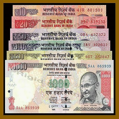 India 10 20 50 100 500 1000 Rupees Set, 2007-2015 New Rupees Symbol (Gandhi)