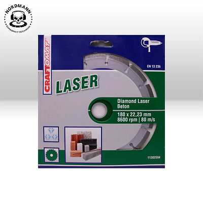 Craftomat Laser Disque de Coupe Diamant 180 X 22.23 mm Universel