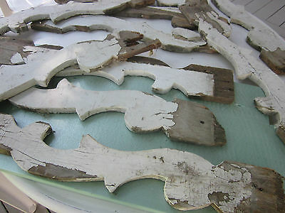 5 pcs. Architectural wood salvage. Victorian porch spindles??? Old white paint
