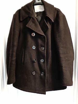 Mens US NAVY Size L Large Xl Extra black Wool Lined Pea coat jacket