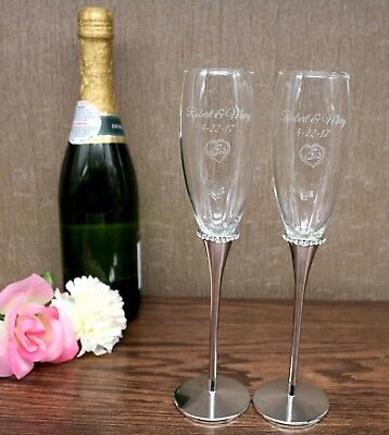 Personalized Engraved Wedding Glass Flutes with Crystals
