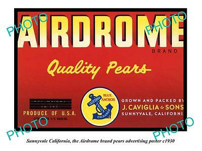 OLD LARGE HISTORIC PHOTO OF SUNNYVALE CALIFORNIA, AIRDROME PEARS POSTER c1930