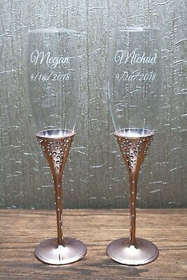 """Personalized Engraved Wedding """"Galaxy"""" Rose Gold Flutes"""