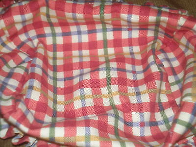 Longaberger Large Recipe Basket Liner - Cherry Red Plaid