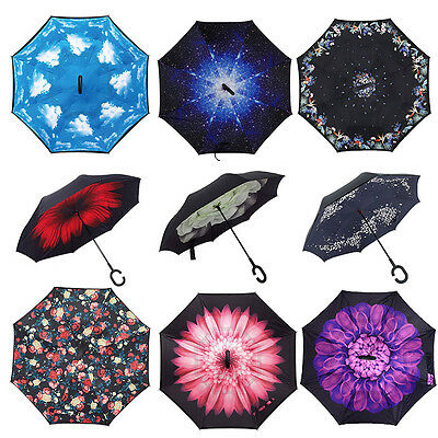 New Double Layer Windproof Upside Down Inverted Folding Handle Reverse Umbrella