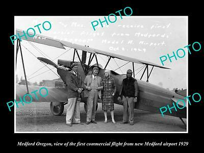 OLD LARGE HISTORIC PHOTO OF MEDFORD OREGON, THE FIRST PASSENGER FLIGHT c1929