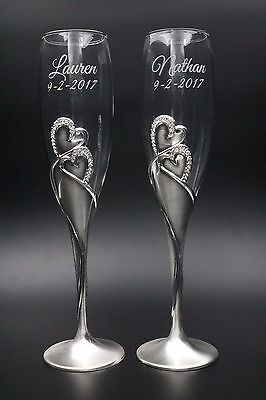 Personalized Engraved 2-Tone Hearts Wedding Flutes