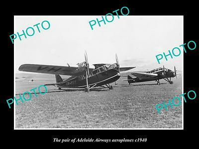 OLD LARGE HISTORIC PHOTO OF THE ADELAIDE AIRWAYS AEROPLANES c1940