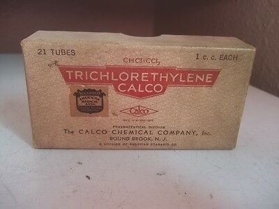 Vintage ADVERTISING WITH CONTENTS TRICHLORETHYLENE CALCO ORIGINAL BOX