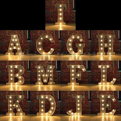 12'' LED Marquee Letter Vintage Alphabet Light Up Sign Metal (A,C,H,G,F,E,I)