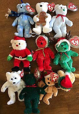 Lot Of 10 Ty Jingle Beanies All In Mint Condition