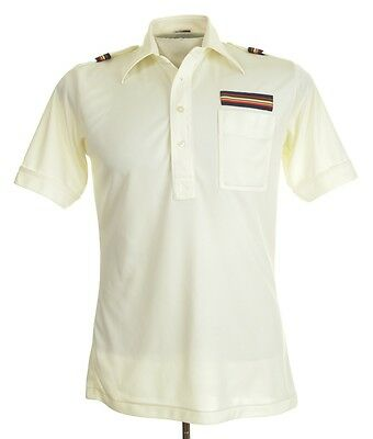 Vintage 70's Mod Polyester Short Sleeve Polo Shirt Cream Joel Cal-Made S/M