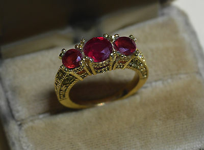 Antique 14k gold ring, size 8, Q, vintage natural Mozambique Ruby & Garnet gems