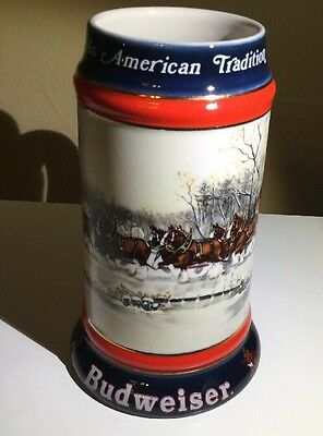 1990 Budweiser Holiday Stein - An American Tradition! Excellent