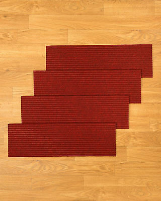 Carpet Stair Treads Set Of 13 Non Slip Red Durable Polyester Staircase Step Rugs