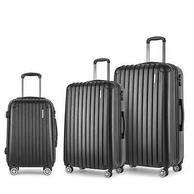 "NEW 3-piece Durable Hard Shell Travel Luggage 20"" 24"" 28"" with TSA Lock - Black"