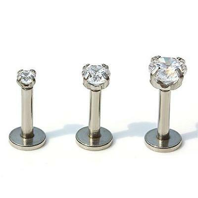2mm 3 4 5mm Gem Triple Helix Ear Stud Labret Monroe Bar Internally Threaded 16g