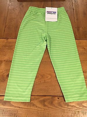 NWT Patagonia Baby Capilene 1 Silk Weight Pants Size 4T DLMG Lime Green
