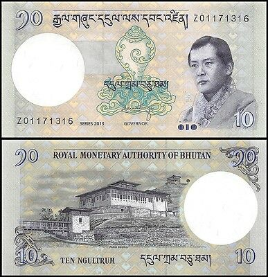 Bhutan 10 Ngultrum Banknote, 2013, P-29b, UNC, REPLACEMENT