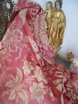 Antique French Silk Fabric  19Th-Century  Marie Antoinette Tassels Floral Decor