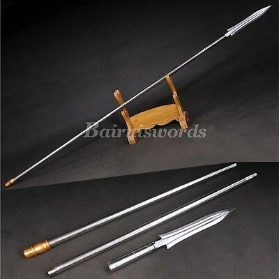 Chinese Spear T1095 High Carbon Steel Spearhead Stainless Handle Battle Ready