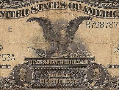 Large 1899 $1 Dollar Bill Big Silver Certificate Black Eagle Note Currency Money