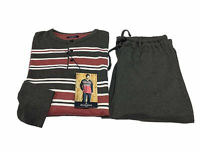 GUASH herren pyjamas winter anthrazit/bordeaux 70% baumwolle 30%polyester L-50