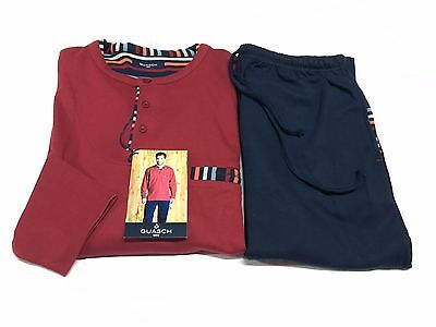 GUASH herren pyjamas baumwolle winter bordeaux/blau 100% baumwolle