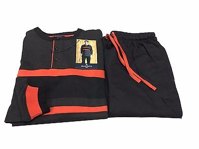 GUASH herren pyjamas plüsch anthrazit/schwarz/orange 100% baumwolle