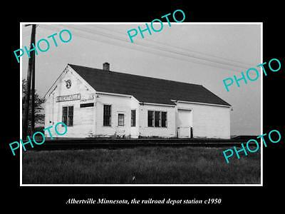 OLD LARGE HISTORIC PHOTO OF ALBERTVILLE MINNESOTA, THE RAILROAD STATION c1950