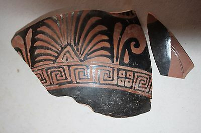 2 ANCIENT GREEK POTTERY RED FIGURE CRATER SHARDS 4th CENTURY BC