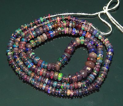"""On Sale !! 22.45 ct Natural Black Ethiopian opal rainbow fire Beads 16"""" strand"""