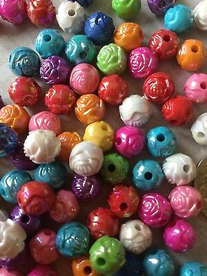 """100 Acrylic Spacer Beads Flower Carved Round Mixed Colour 3/8"""" Jewellery Making"""