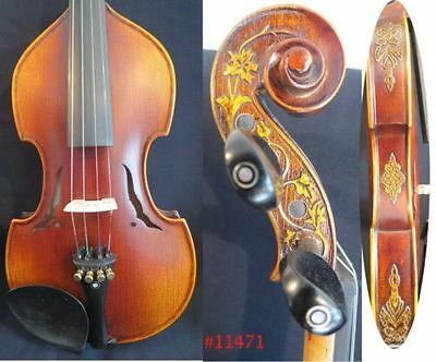Hand made Baroque style violin 4/4 carved rib good sound free case bow #11471