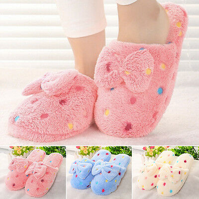 Women Winter Warm Soft Bowknot Bedroom Slippers Shoes House Slipper Indoor