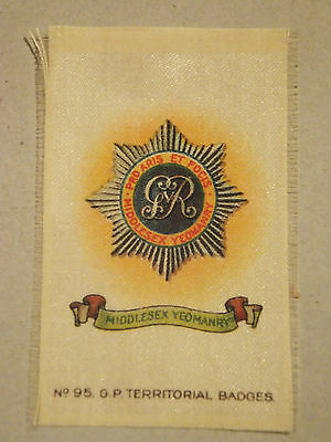 Middlesex Yeomanry Territorial Badge, silk, WW1, Army