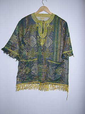 Mens Vintage Traditional West African Ghana Woven Shirt Ethnic Size  46 Chest