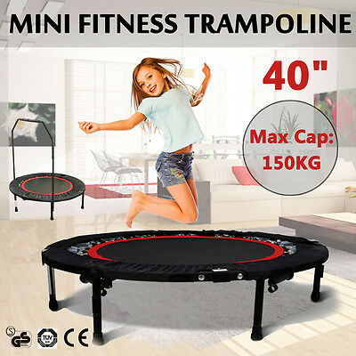 40'' Mini Trampoline Handrail Rebounder Cardio Fitness Exercise Workout Home Gym
