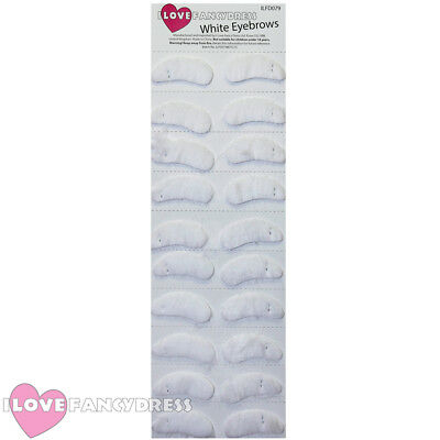 Pack Of 10 Santa Eyebrows White Self Adhesive Fancy Dress Father Christmas