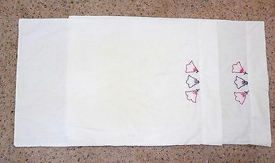 VTG Pillowcases Hand Embroidery Floral Cotton Blend