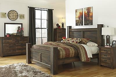 Ashley Quinden B246 King Size Poster Bedroom Set 5pcs in Dark Brown Casual Style
