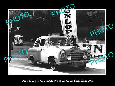 Old Large Historic Photo Of John Young Driving His Ford Anglia, Monte Carlo 1956